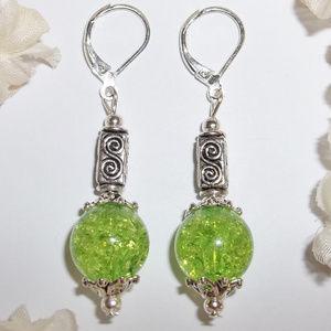 Green & Silver Funky Earring Set NWT Handmade 4615